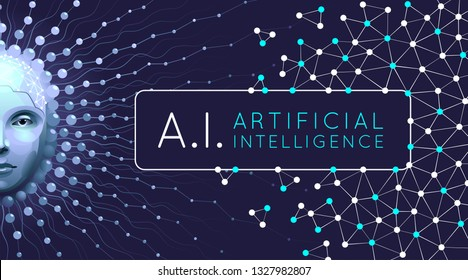 Artistic Representation Of Artificial Intelligence. Vector template on the subject of 'Future Technologies'.