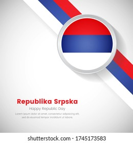 Artistic Republika Srpska national flag on circle. Republic day of Republika Srpska country with classic background