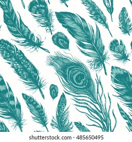 Artistic seamless pattern made of owl, pheasant, peacock, blue jay and other bird feathers. Hand drawn ink illustration in trendy rustic, boho, grunge style.