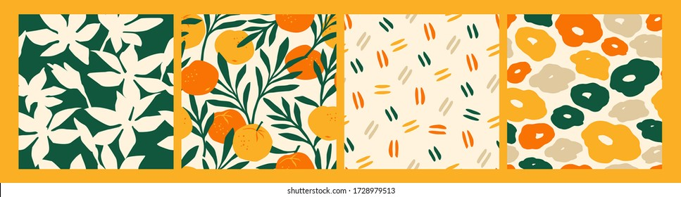 Artistic set of seamless patterns with abstract flowers and oranges. Modern design for paper, cover, fabric, interior decor and other users.