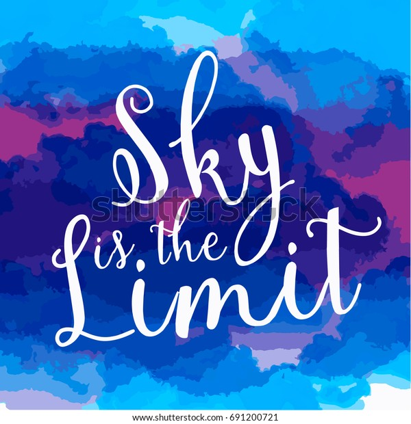 Artistic Sky Limit Words Colorful Watercolor Stock Vector