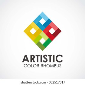 Artistic square of rainbow rhombus abstract vector and logo design or template colorful rectangle business icon of company identity symbol concept