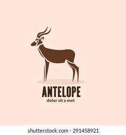 Artistic stylized antelope icon. Silhouette wild animals. Creative art logo design. Vector illustration.