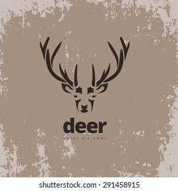 Artistic stylized deer icon. Silhouette wild animals. Creative art logo design. Vector illustration.