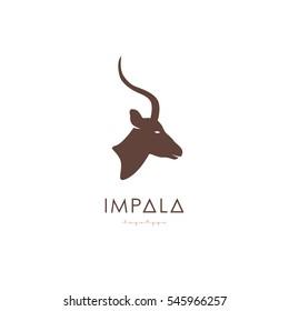 Artistic stylized Impala logotype. Antelope silhouette wild animals. Creative art logo design. Vector illustration.