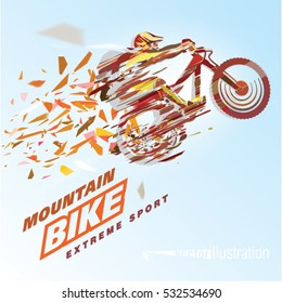 Artistic stylized mountain biker in motion