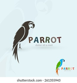 Artistic stylized parrot icon. Silhouette birds. Creative art logo design. Vector illustration.