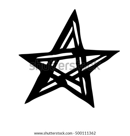 Artistic Symbol Star Black White Star Stock Vector Royalty Free