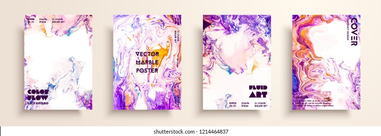 Artistic textures for digital design. Fluid colors backgrounds. Set of vector cards for brand identities, invitation designs, packaging, labels, business cards, and interactive web backgrounds