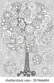 Artistic tree with winter Christmas snowflakes. Pattern for coloring book. Hand drawn, doodle, tribal.  Made by trace from sketch. Ink pen. Black and white background. Zentangle patters.