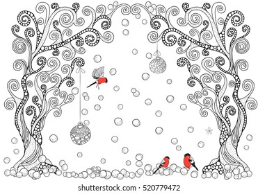Artistic trees, xmas balls and red bullfinches. Zentangle patterns. Sketch by trace. Hand-drawn, ethnic, floral, retro, doodle, vector design element. Black and white. Adult Coloring book.
