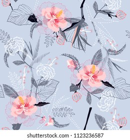 Artistic tropical flower pattern on sketch line dash seamless pattern vector on light smoke blue background