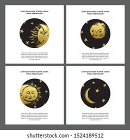 Artistic universal deep night cards set, templates with moon and sun sketch in medieval engraving style