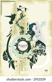 artistic vector illustration, beauty woman listening music,abstract design elements,grunge & floral, eroded background with blank medallion for text