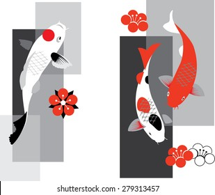 Artistic vector illustration of koi carps  in three colors