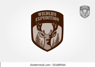 Artistic vector logo silhouette of a head deer