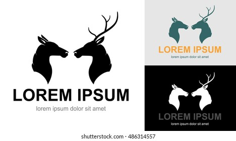 Artistic vector profile silhouette of two deers. A couple of wild animals: heads of buck with horns and doe. Idea for logo.