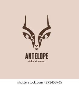 Artistic vector silhouette antelope. Stylized idea wild animal logo design template.