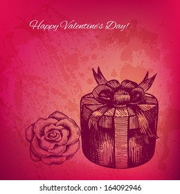 Artistic vector valentine background with ink style hand drawn rose and gift box