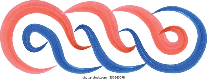 Artistic watercolor style Croatian interlace or wattle, in red, white and blue, national color of Croatia. Medieval ornament, decorative graphic element.