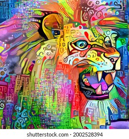 An artistically designed and digitally painted, portrait of a roaring lion.