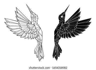 Artistically drawn, black contour, polygonal, flying hummingbird on white background. Tattoo style.