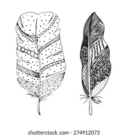 Artistically drawn, stylized, vector set of two feathers on a white background. Illustration is created from a personal sketch by trace. Series of doodle feathers.