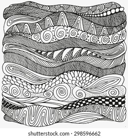Artistically ethnic pattern. Hand-drawn, ethnic, floral, retro, doodle, vector, zentangle tribal design element. Pattern for coloring book