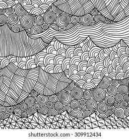 Artistically ethnic pattern. Hand-drawn, sea waves. ethnic, floral, retro, doodle, vector, zentangle tribal design element. Pattern for coloring book.