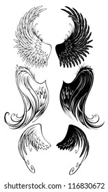 artistically painted angel wings on a white background.