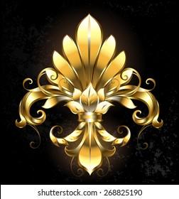 Artistically painted gold Fleur de Lis on dark background.