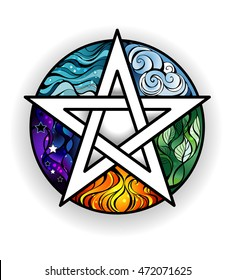 Artistically painted magical pentagram with elements of water, earth, air, fire, astral, on white background.