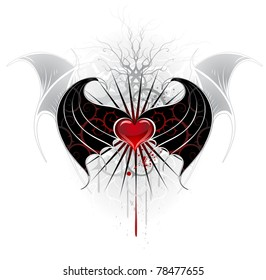 artistically painted, red heart of a vampire with black wings, decorated with a pattern of spikes.