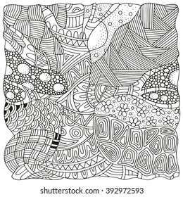 Artistically tree. Zentangle patterns. Sketch by trace. Hand-drawn ethnic, floral, doodle, vector, tribal design element. Black and white. Coloring book for adults and children. Zen art.