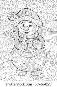 Artistically winter, christmas, ethnic pattern with snowman . Pattern for coloring book. Vector. Hand-drawn, floral, retro, doodle, zen tangle, tribal design element.