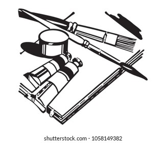 Artists Equipment - Retro Clip Art Illustration