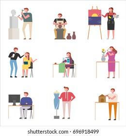 Artists in the field of art design vector illustration flat design
