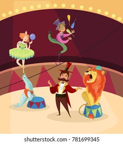 Artists on circus stage. Lion tamer. Juggler with maces balancing on high wire. Woman standing on fur seal s nose with ball in hand. Cartoon characters of people and animal.