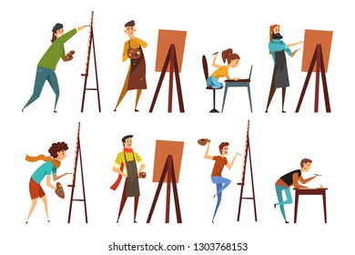 Artists painting on canvas set, painter characters vector Illustrations