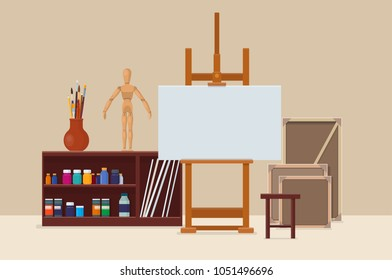 Artist's workshop. Art studio interior with artistic tools, easel and canvas. Artists creative space. Vector illustration