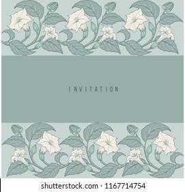 Art-nouveau floral invitation frame with datura botanical ornament frame vector background illustration