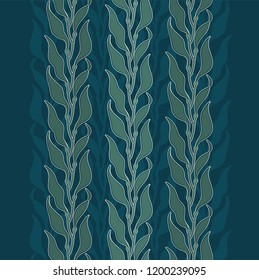 Art-nouveau kelp seaweed pattern illustration in vintage style elegant seamless ornament with algae kelp forest color vector
