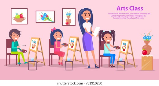 Arts class poster with teacher training children how to draw in classroom with easels, colorful paintings on wall. Bright vector illustration with place for text.