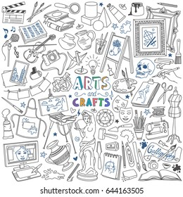 Arts and crafts doodles set. Drawing, painting, sculpting, photography, music and design supplies and tools.