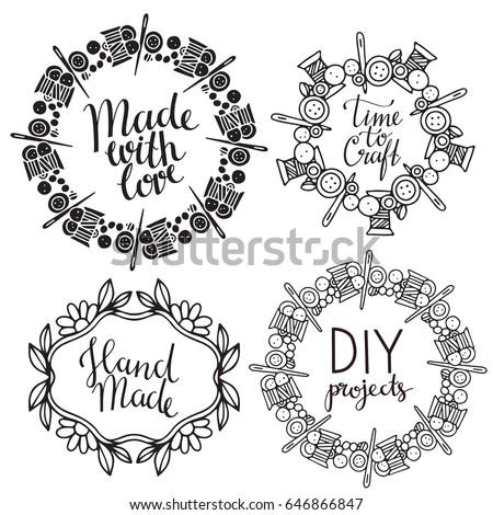 Arts Crafts Frames Sewing Supplies Tools Stock Vector (Royalty Free ...