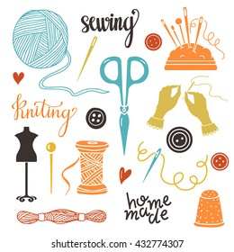 Arts and crafts sewing hand drawn supplies, tools, design elements, icons set isolated on white background