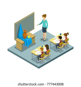 Arts lesson at school 3d isometric icon. Children sitting at table in classroom and studying, teacher near blackboard vector illustration.