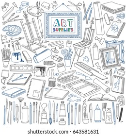 Arts supplies doodle set. Drawing, painting, and design equipment, materials and tools.