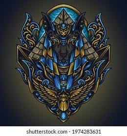artwork illustration and t shirt design anubis engraving ornament