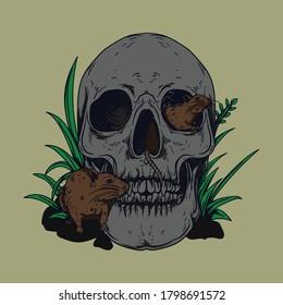 artwork illustration and t-shirt design black and white hand drawn skull with rat  premium vector